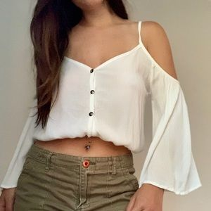 Cold-shoulder crop top with bell sleeves!